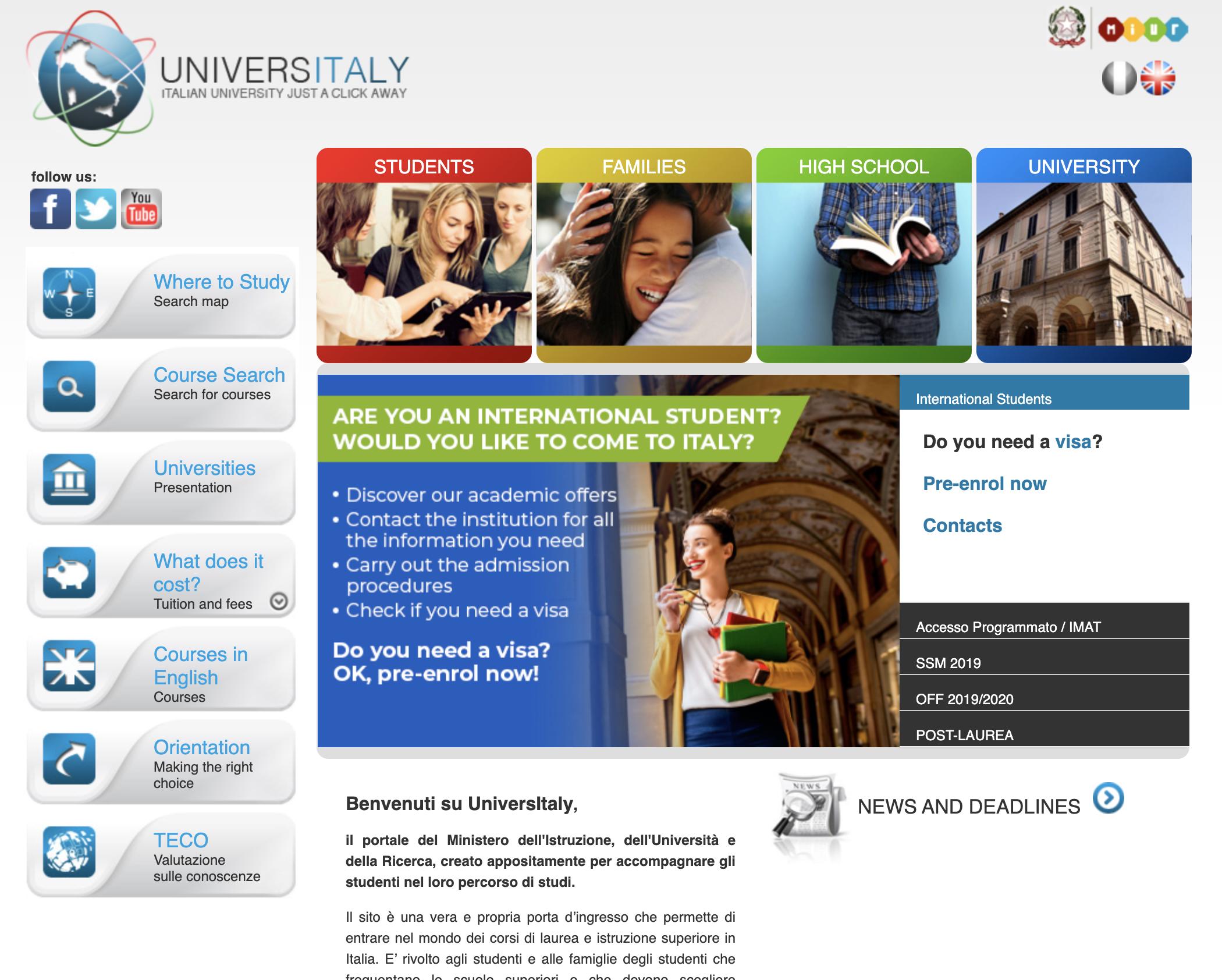 קדם הרשמה לפקולטות לרפואה באנגלית באיטליה